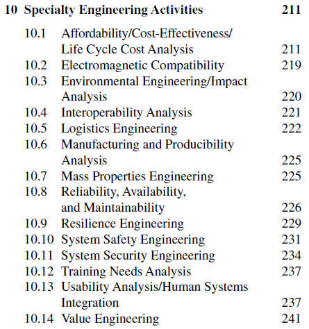Table of contents for the Specialty Engineering section of the INCOSE handbook.