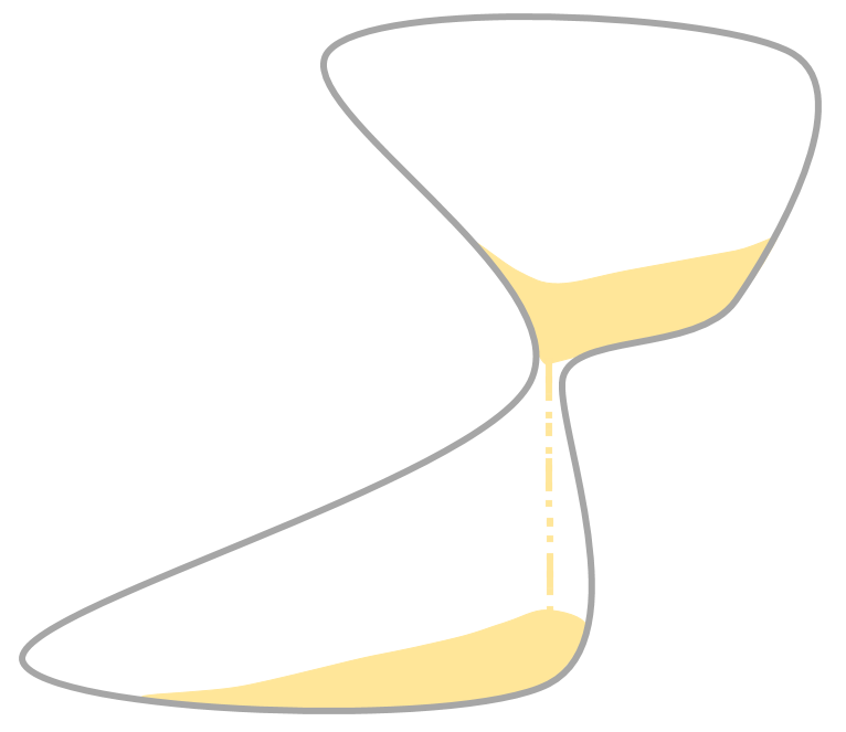 an hourglass with an odd, lopsided shape