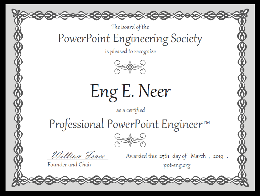 PowerPoint Engineering Society certificate