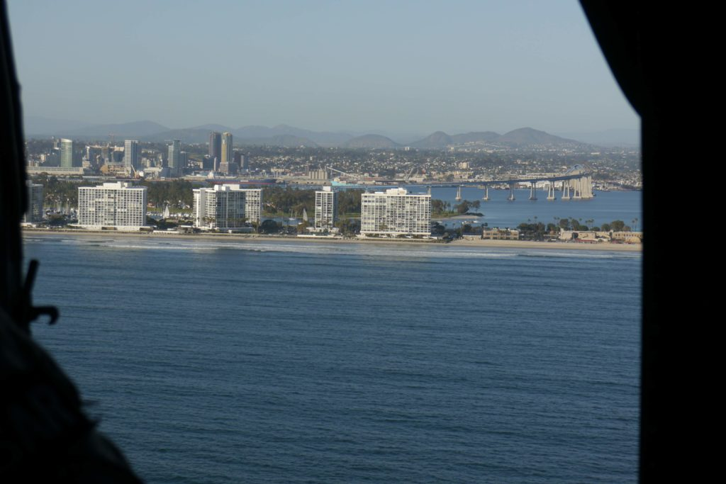View of San Diego and the Coronado bridge from the air